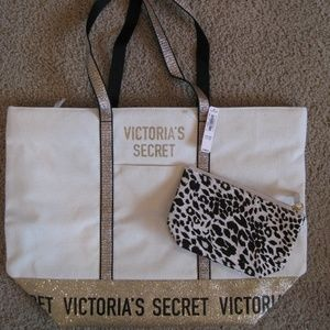 Victoria's Secret Cream and Gold Tote Bag